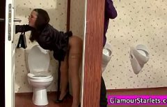 Brunette Lady Fucked Through A Hole In The Toilet