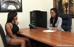 Two Black Lesbians Head Together In An Office