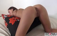 The Brunette With Small Tits Also Puts Her Vibrator On Her Pussy When She Fucks