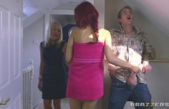 The Girl Talks To Her Mother And Behind The Door She Rubs Her Boyfriend On The Dick