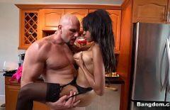 Muscular Man Fucks A Black Brunette With Big Tits